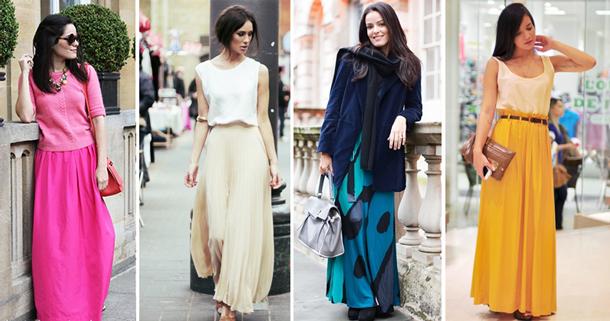 Светлая длинная юбка с чем носить