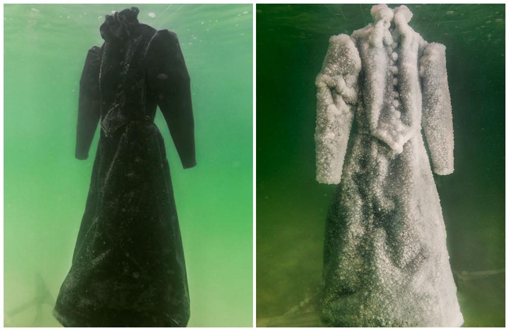 Художник оставил платье в Мертвом море на 2 года, и оно превратилось в сверкающий солью шедевр
