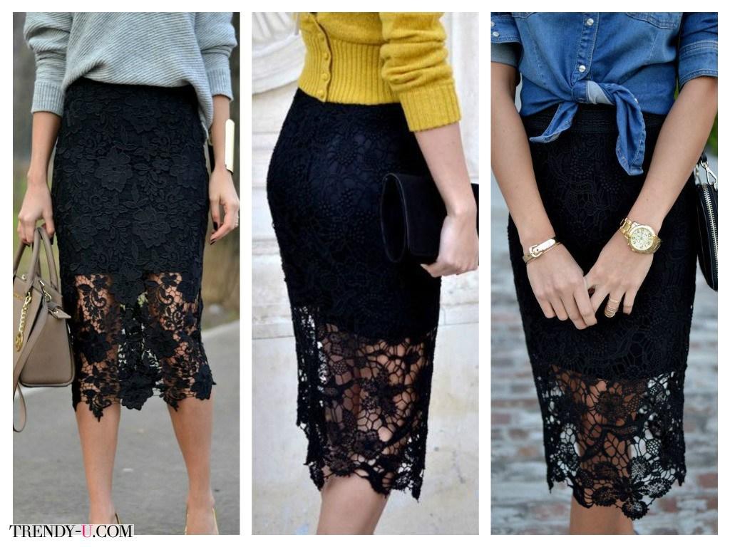 Черные ажурные юбки с чем носить