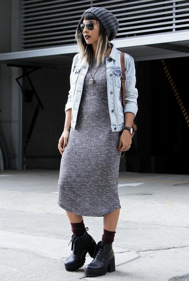 Платье макси с ботинками