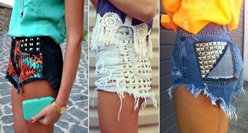 Джинсовые юбки в камнях