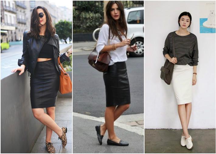Женские оксфорды и юбка