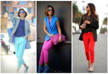 Цветные брюки. Модные сочетания