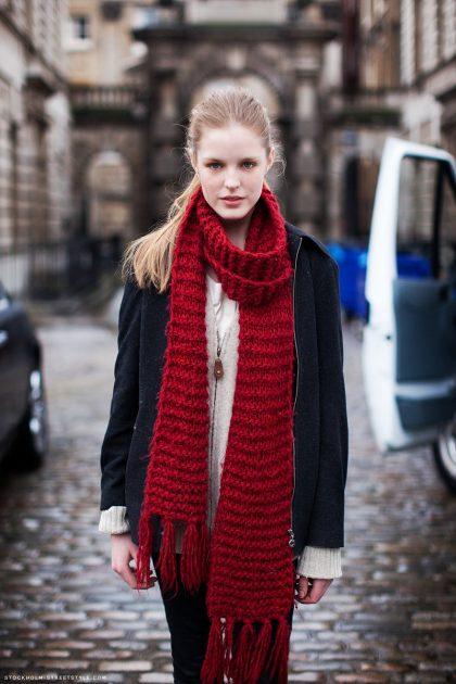 длинный шарф в тренде
